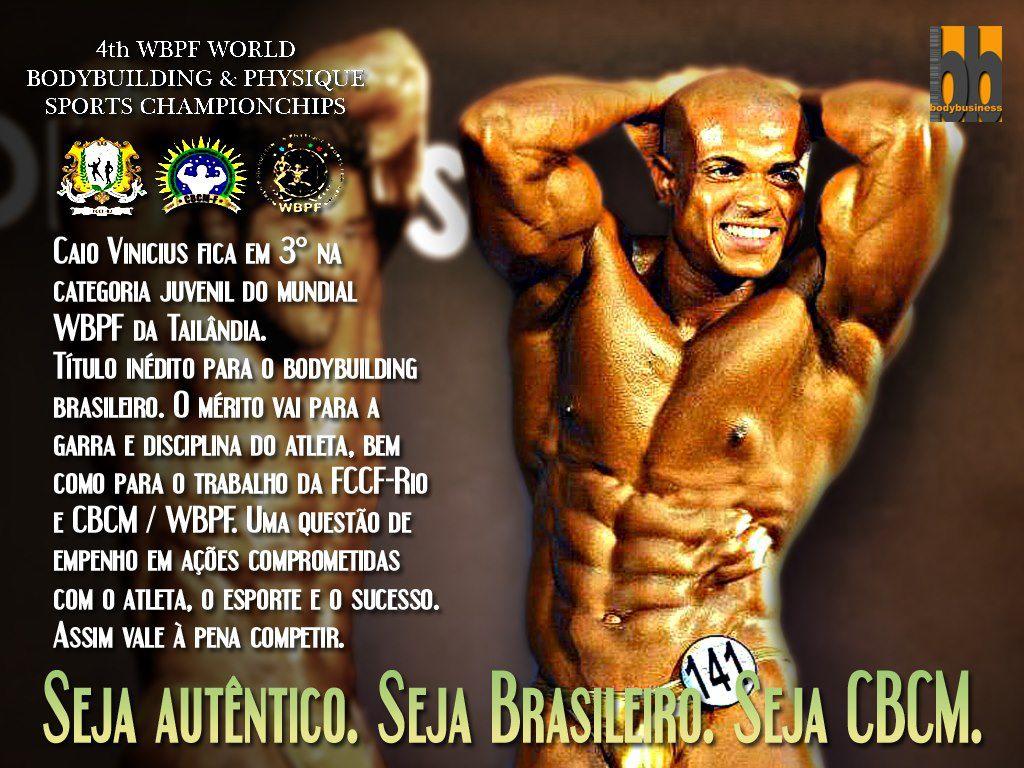 A FCCF-RJ NA PESSOA DO PRESIDENTE JAIR FREDERICO COMPARTILHA ESSE GRANDE MOMENTO COM TODOS E ANUNCIA QUE O ATLETA CAIO VINÍCIUS REVELAÇÃO DA NOSSA FEDERAÇÃO É 3º COLOCADO NO CAMPEONATO MUNDIAL WBPF!!!! PARABÉNS CAIO PELA DEDICAÇÃO, DISCIPLINA, E POR DAR ESSE TÍTULO AO RIO DE JANEIRO - BRASIL.ATLETA CAIO VINÍCIUS TERCEIRO MELHOR DO MUNDO EM SUA CATEGORIA! ORGULHO DE TODOS NÓS!